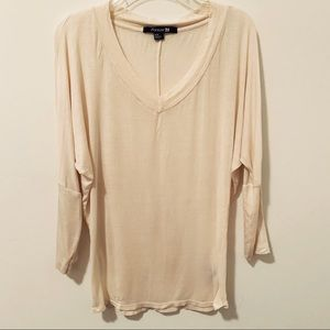NWOT sheer Cream go with everything blouse M